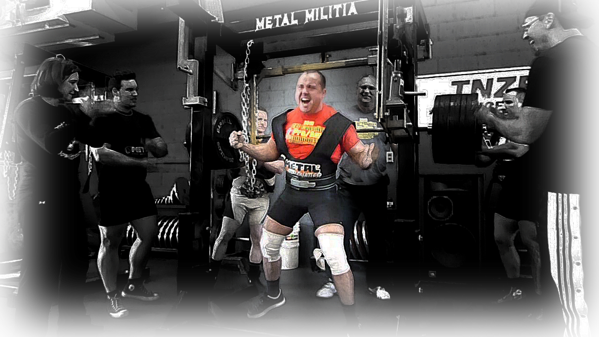 Ghislain Roy after 825 lb squat in METAL MLIITA MONOLIFT FOR SALE